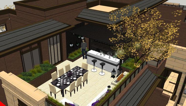 舒适型样板房屋顶景观模型设计 (4)