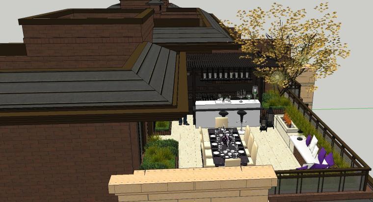 舒适型样板房屋顶景观模型设计 (5)