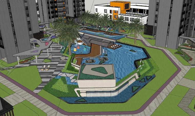 博林住宅小区泳池景观模型设计 (2)