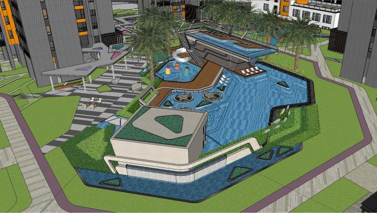 博林住宅小区泳池景观模型设计 (3)