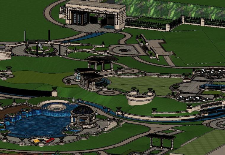 知名企业欧陆风格住宅景观模型设计 (1)