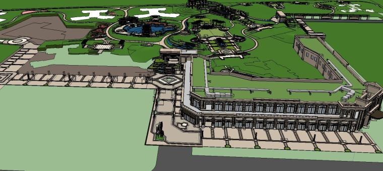 知名企业欧陆风格住宅景观模型设计 (3)