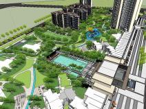 新中式风格非展示区主入口住宅景观方案设计