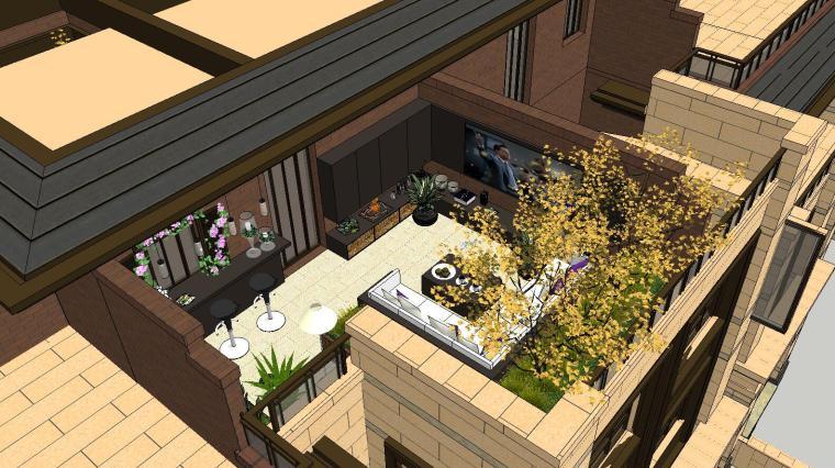 经济庭院屋顶花园景观模型设计 (1)