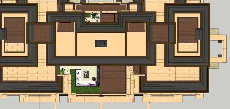 经济庭院屋顶花园景观模型设计 (2)