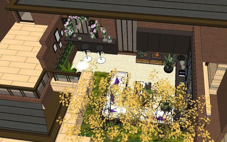 经济庭院屋顶花园景观模型设计 (3)