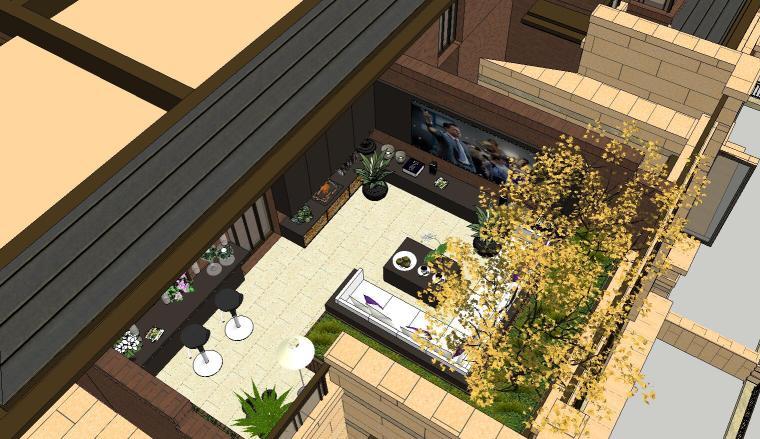 经济庭院屋顶花园景观模型设计 (4)