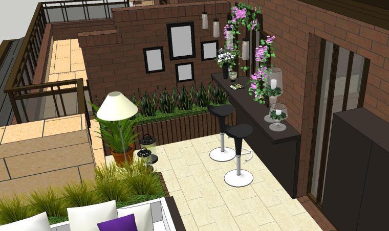 经济庭院屋顶花园景观模型设计 (5)