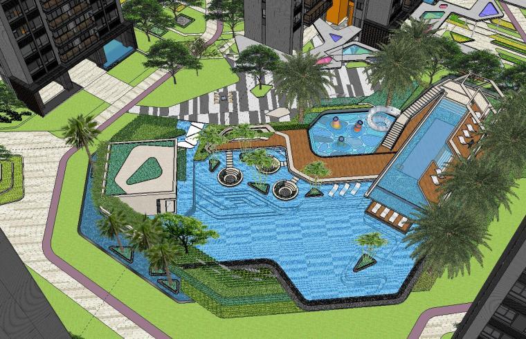 博林住宅小区泳池景观模型设计 (1)