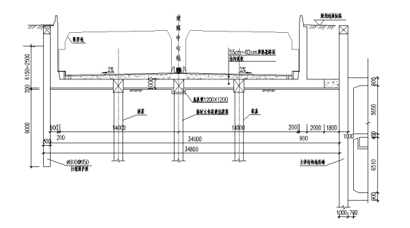 大道节点改造工程可行性研究报告2020-双向六车道敞口段及暗埋段断面图