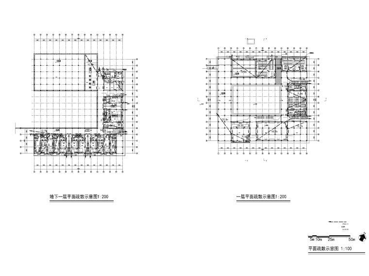 非物质文化遗产传承中心项目建筑含招标文件-平面疏散示意图
