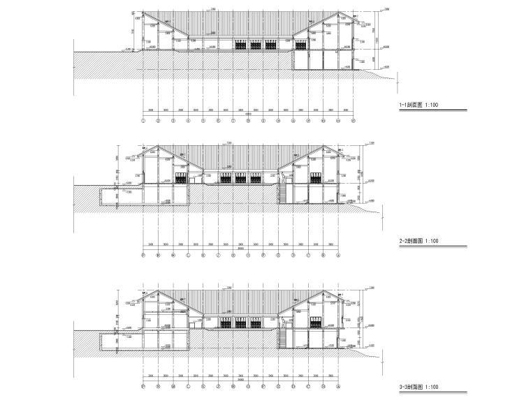 非物质文化遗产传承中心项目建筑含招标文件-剖面图