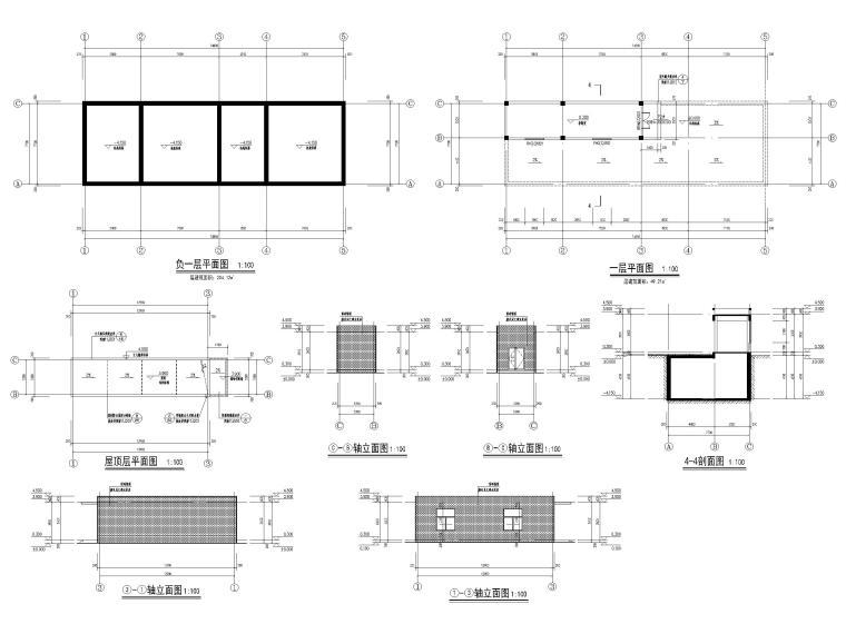 高层框剪医院骨科综合楼建筑施工图2018-污水处理站平面、立面、剖面
