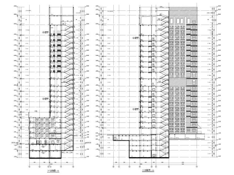 高层框剪医院骨科综合楼建筑施工图2018-剖面图