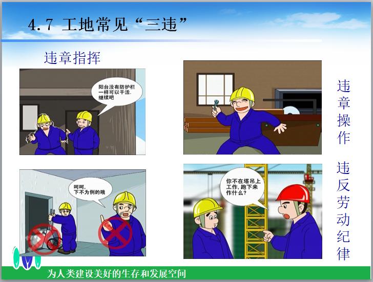 """知名企业施工安全培训讲义(79页)-工地常见""""三违"""""""