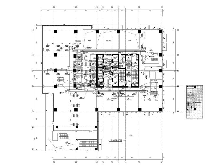 [重庆]会展总部办公楼_艺术酒店暖通图纸-二层空调风平面图