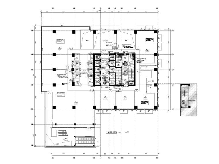 [重庆]会展总部办公楼_艺术酒店暖通图纸-二层通风平面图