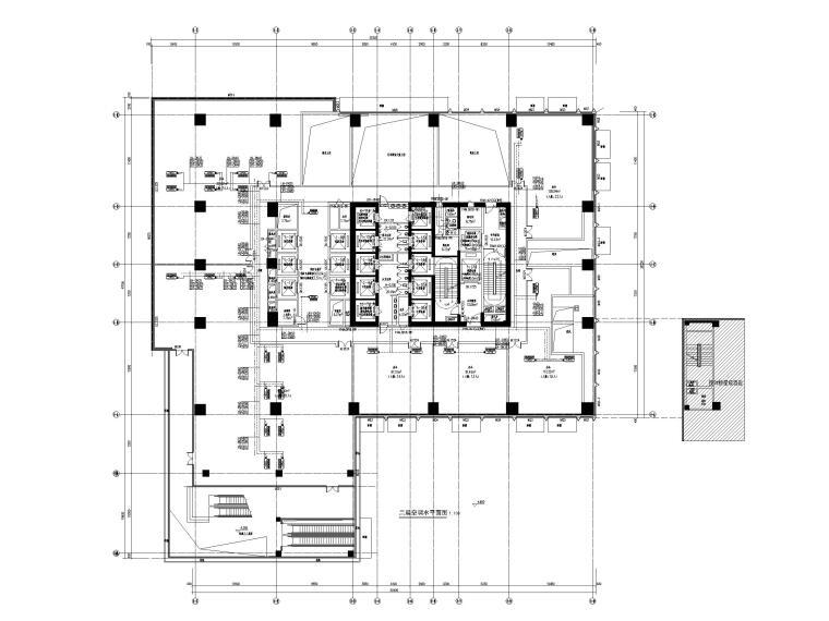 [重庆]会展总部办公楼_艺术酒店暖通图纸-二层空调水平面图