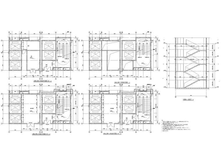 高层框剪医院骨科综合楼建筑施工图2018-核心筒大样图