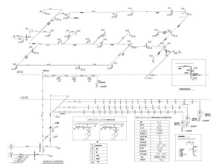 重庆机场航站楼给排水图纸(含虹吸排水)-自动喷水灭火系统原理图