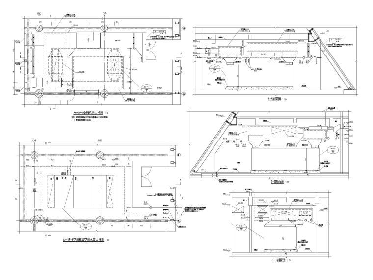 重庆武陵山机场改扩建项目暖通图纸负荷计算-AH-1F-1空调机房大样图