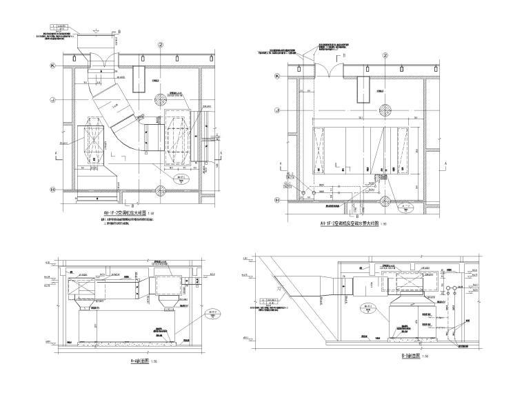 重庆武陵山机场改扩建项目暖通图纸负荷计算-AH-1F-2空调机房大样图