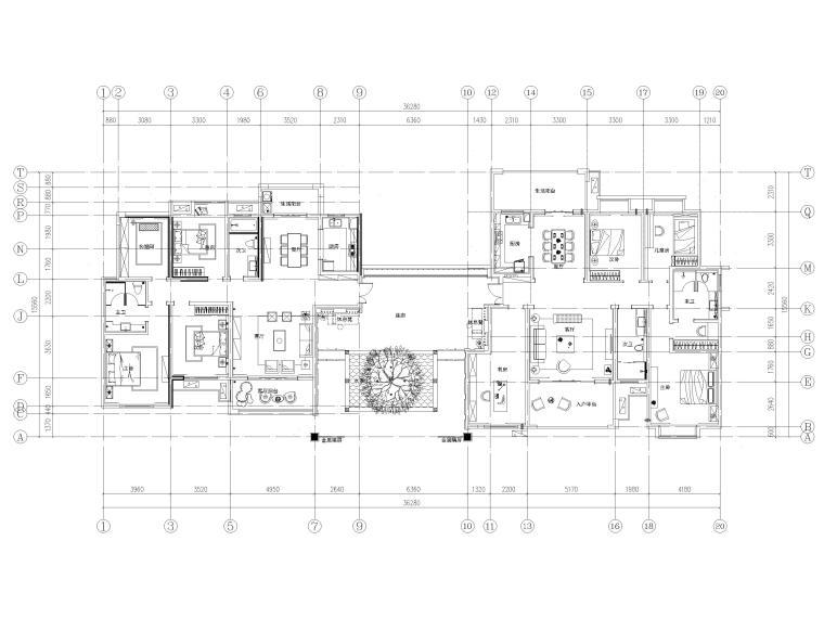 [长沙]两套三居家装样板间装修设计施工图-两套样板房总平图