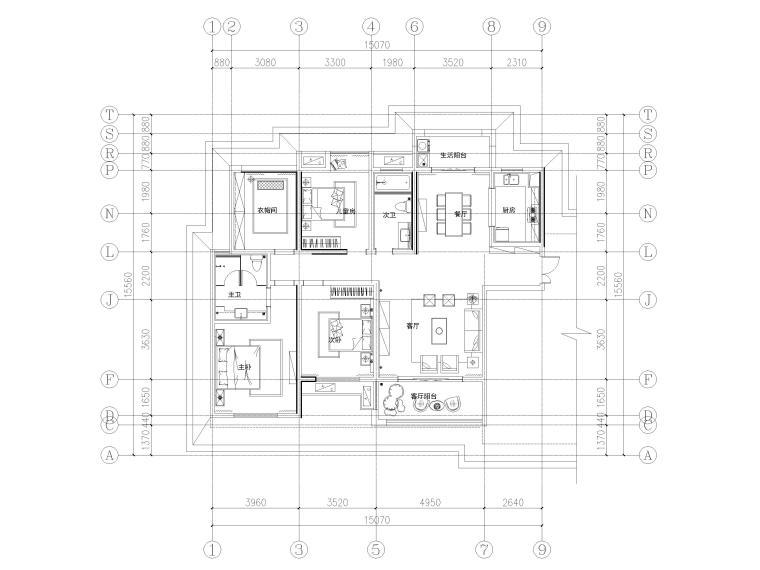 [长沙]两套三居家装样板间装修设计施工图-G3户型平面布置图