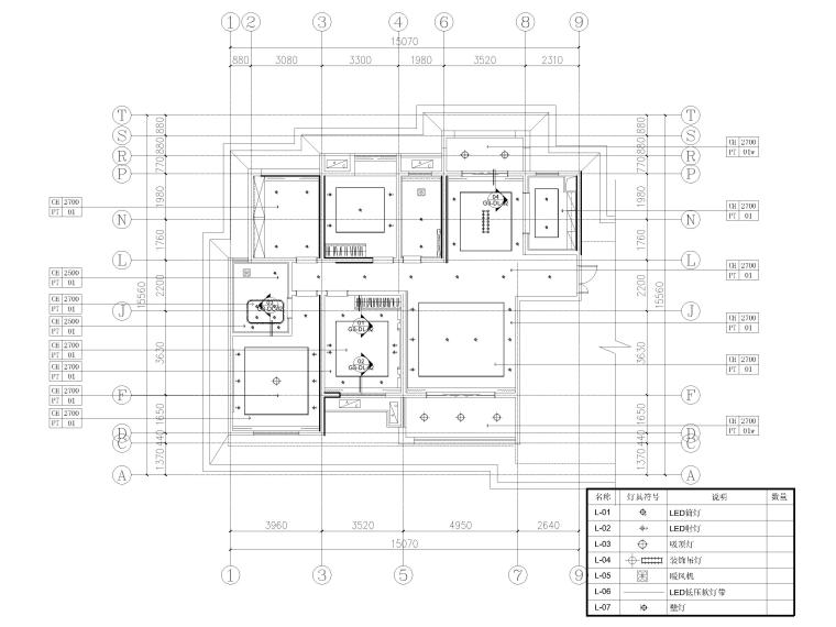 [长沙]两套三居家装样板间装修设计施工图-G3户型天花布置图