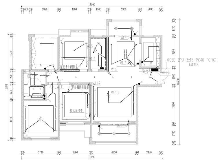 [长沙]两套三居家装样板间装修设计施工图-G3户型照明平面图