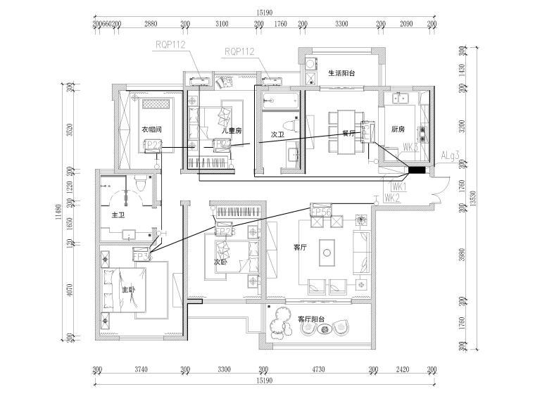 [长沙]两套三居家装样板间装修设计施工图-G3户型空调平面图