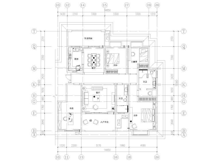 [长沙]两套三居家装样板间装修设计施工图-B1户型平面布置图