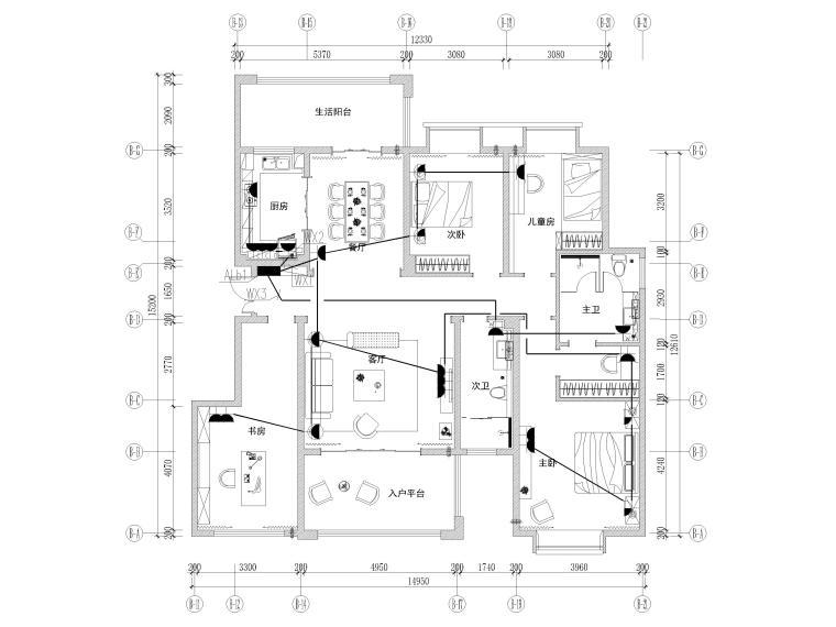 [长沙]两套三居家装样板间装修设计施工图-B1户型插座布置图
