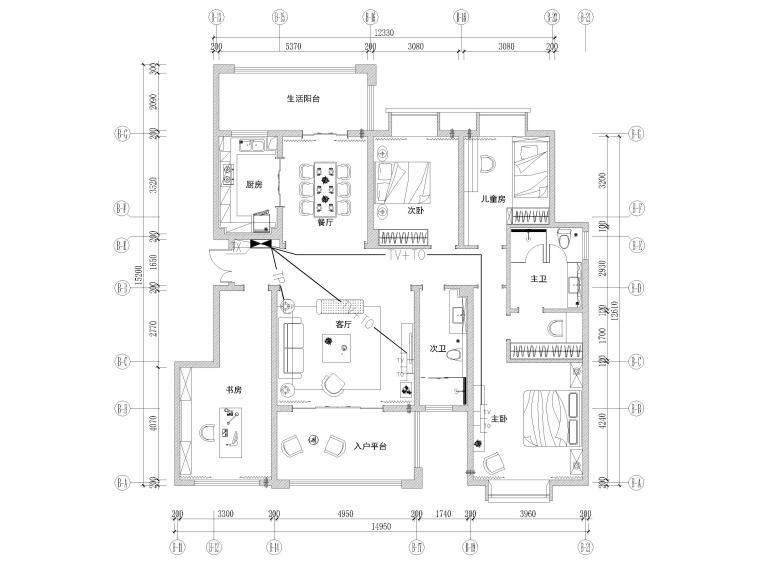 [长沙]两套三居家装样板间装修设计施工图-B1户型弱电平面图