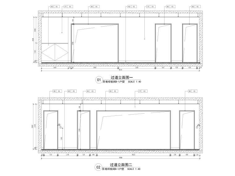 [长沙]两套三居家装样板间装修设计施工图-B1户型过道立面图
