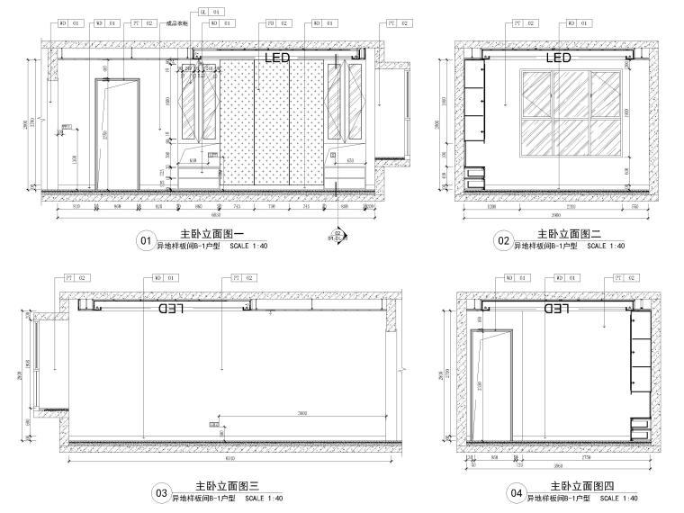 [长沙]两套三居家装样板间装修设计施工图-B1户型主卧立面图