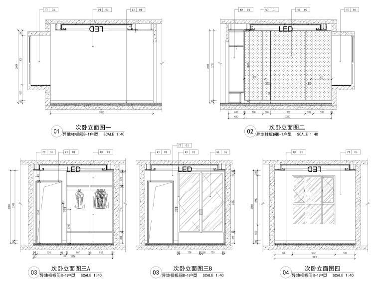 [长沙]两套三居家装样板间装修设计施工图-B1户型次卧立面图