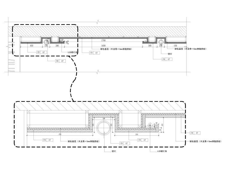 [长沙]两套三居家装样板间装修设计施工图-天花节点大样详图