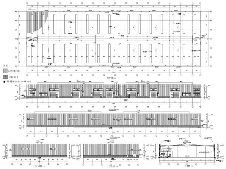 饲料生产加工车间_办公_宿舍建筑施工图2019-原料车间立面图、剖面图