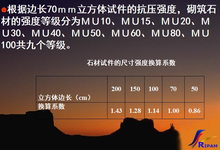 石材的分类及技术性质培训讲义PPT-02 石材抗压强度