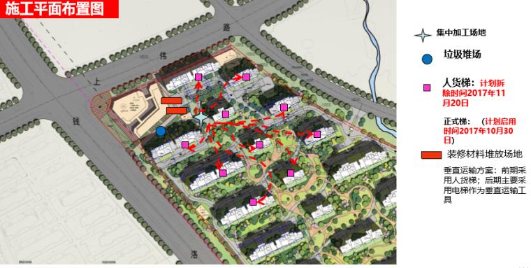 名企货量区住宅精装修工程管理策划(图文)-施工平面布置图