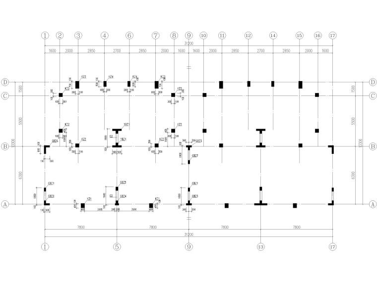 [贵州]2栋叠拼结构商业住宅结构施工图2018-剪力墙及柱平法施工图
