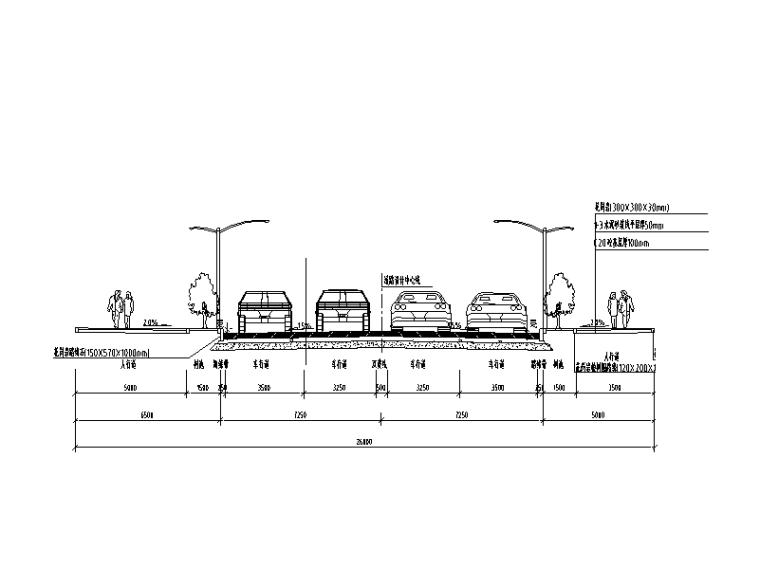 [重庆]道路防洪护岸综合整治设计图纸-道路标准横断面图