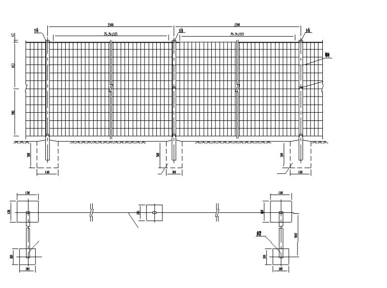 [重庆]道路防洪护岸综合整治设计图纸-防护网大样图