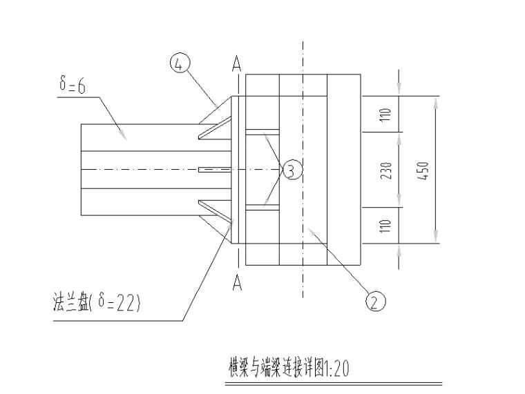 [重庆]道路防洪护岸综合整治设计图纸-横梁与端梁连接详图