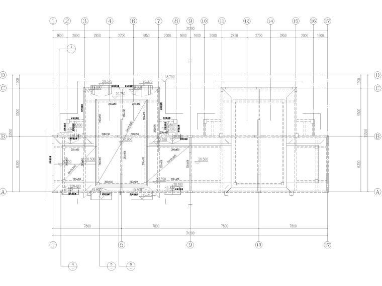 [贵州]2栋叠拼结构商业住宅结构施工图2018-屋面层结构平面布置图