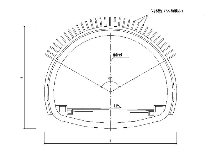 [重庆]城市次干道隧道土建工程设计图纸-超前小导管与支护设计图