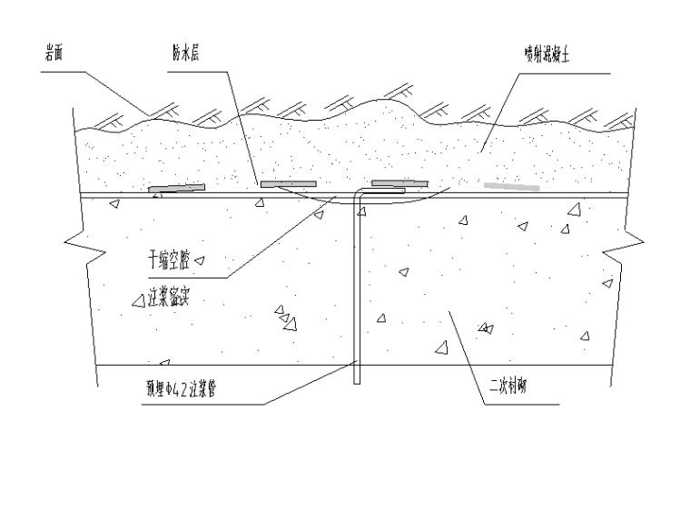 [重庆]城市次干道隧道土建工程设计图纸-拱顶预埋注浆管布置图