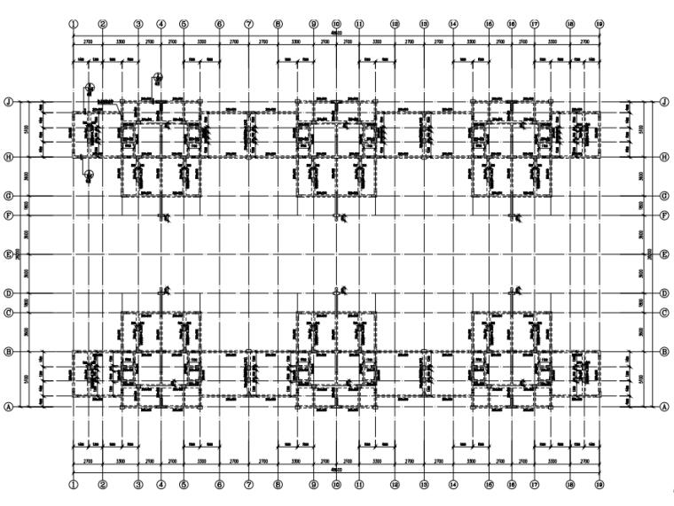 [贵州]4座框剪结构合院别墅结构施工图2018-结构平面布置图