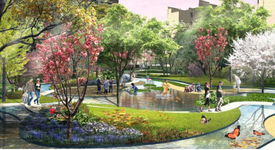 [一键下载]12套精品居住区住宅景观方案合集-[南京]某高档滨河住宅小区景观设计方案